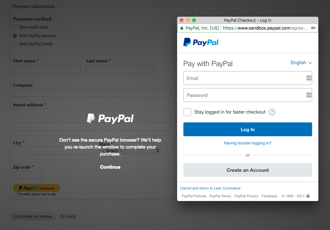PayPal Express Checkout modal in Commerce 2.x
