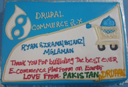 Drupal Commerce deserves cake. Thanks, Drupak!